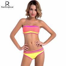 Raintropical Sexy Bandeau Bikinis Women Swimsuit Push Up Swimwear 2019 Newest Crochet Handmade Brazilian Bikini Set Bathing suit