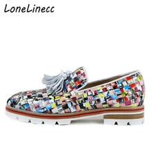 LONELINECC Men Fashion Design Printing Weave Tassel Shoe Handcraft Lowtop Loafers Anti-skid Men Smoking Casual Shoes Party Shoes