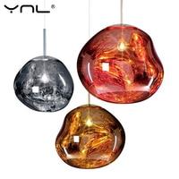 Modern tom dixon Pendant lights Irregular Glass Lava 20 30 40CM Silver Gold Copper Mirror Hanglamp industrial decor luminaria