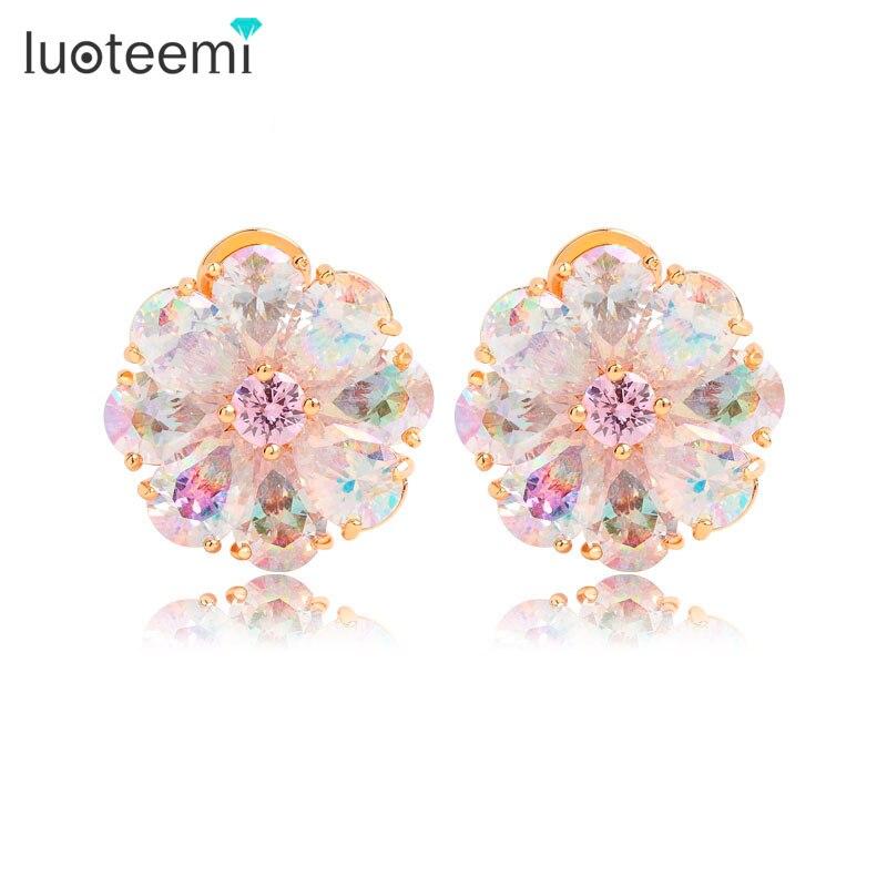 LUOTEEMI De Luxe À La Mode Parfait Perle Cut Arc Zircon Cubique Fleur Boucles D'oreilles pour les Femmes Champagne Or Couleur Bijoux