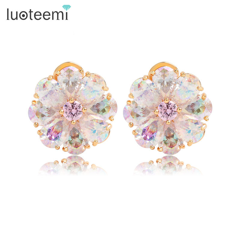 LUOTEEMI Luksus Trendy Perfect Pearl Cut Rainbow Cubic Zircon Flower Earrings for Women Champagne Gold Color Jewelry