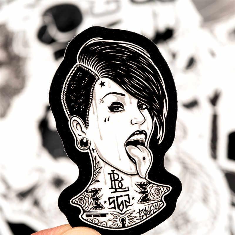 50 قطعة الأسود والأبيض ملصقات الرعب كول الجمجمة روك ملصق للأمتعة المحمول دراجة دراجة نارية المحمول اللعب ملصقات مجموعات