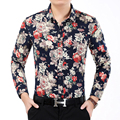 2016 Autumn New Arrival Men's Shirt Fashion Flower Long Sleeve Shirt Mens Clothing Trend Casual Slim Fit Mens Office Shirt 7XL