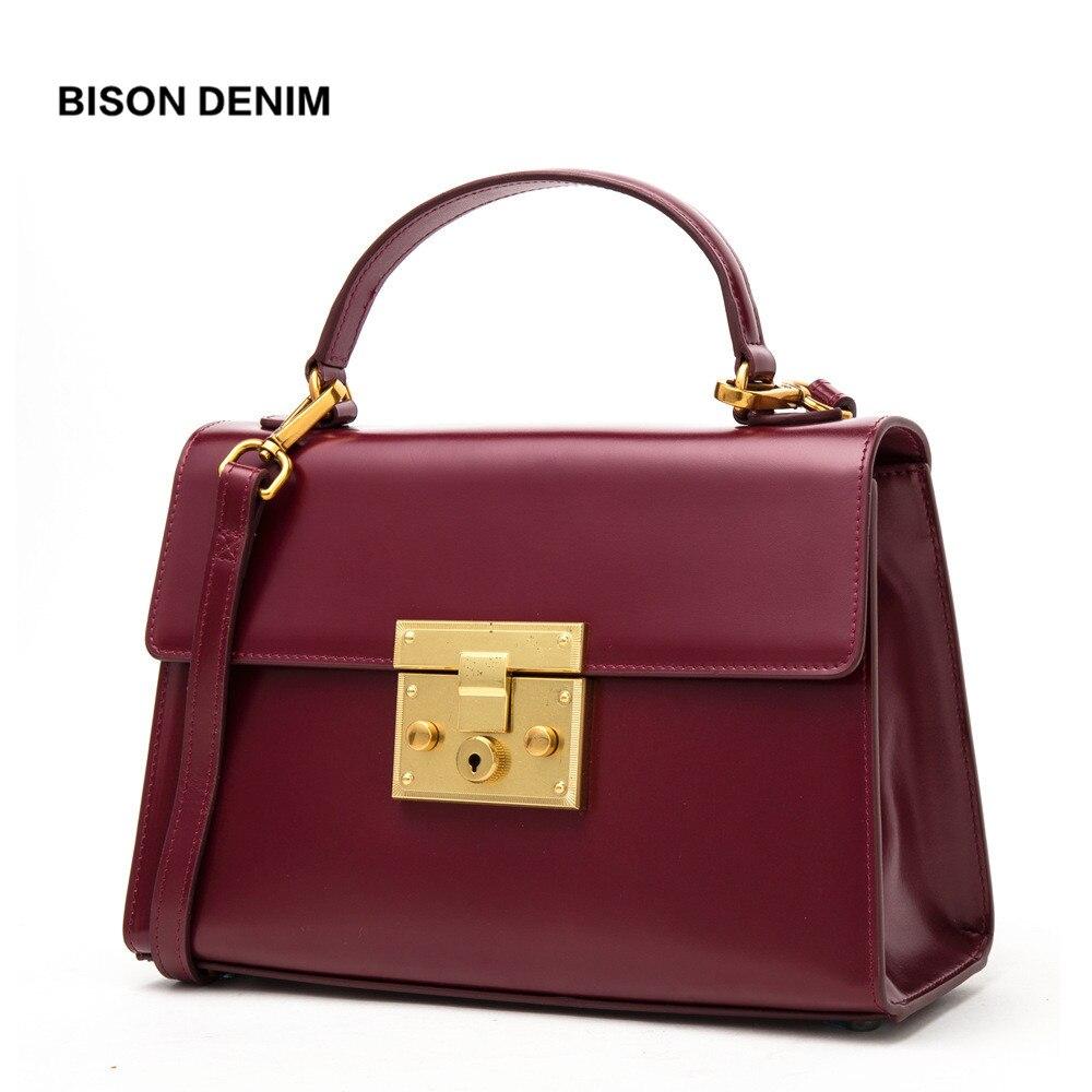 BISON DENIM Couro Genuíno Das Mulheres Saco de Moda bolsas das mulheres Bolsas De Luxo para as mulheres Do Vintage 2018 bolsa feminina N1400
