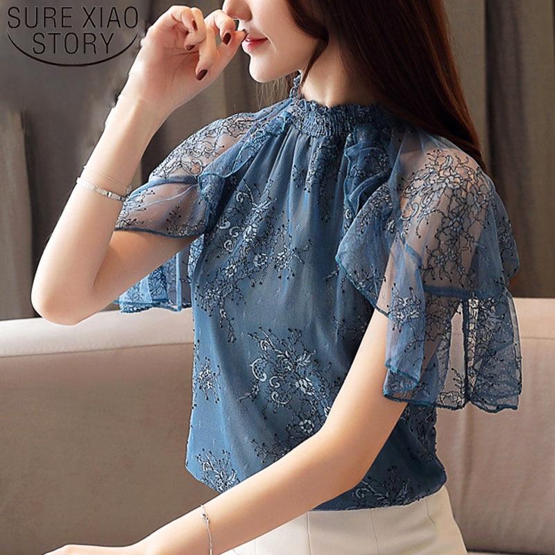 Fashion women tops and   blouses   2019 ladies tops white   blouse     shirt   lace   blouse   short sleeve   shirt   women harajuku Ruffles 4361 50