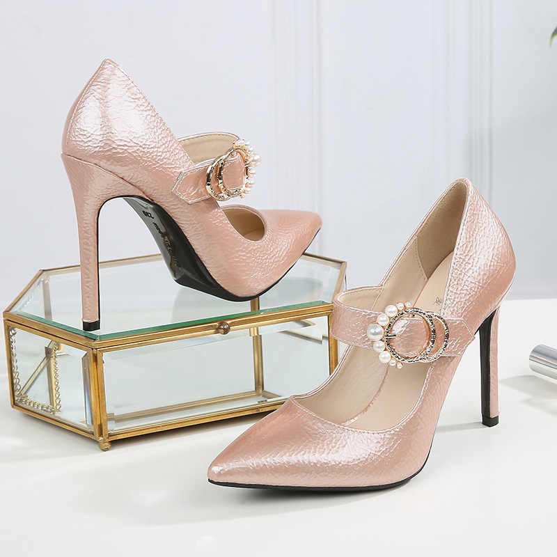 Женские туфли на высоком каблуке; модельные свадебные туфли с острым носком; вечерние пикантные женские туфли из искусственной кожи Мэри Джейн; женские туфли-лодочки розового цвета