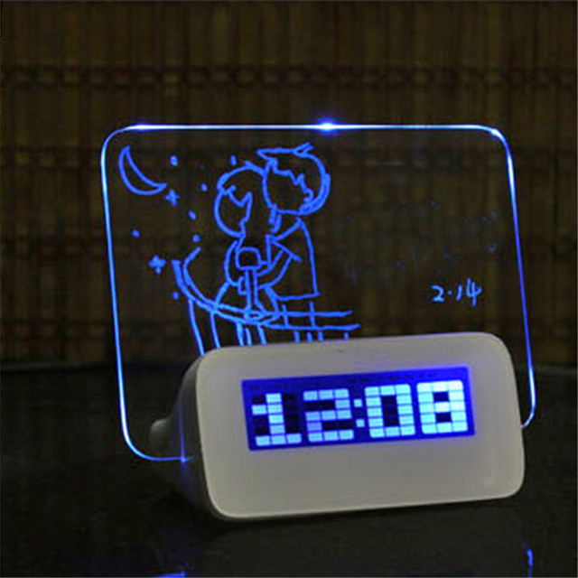 Digital Alarm Clock LED Despertador Fluorescent with Message Board USB 4 Port Hub Desk Table Clock With Calendar Blue