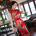 New Arrival Red Print Chinese Style Lady Silk Qipao Traditional Cheongsam Summer Vintage Dress Flower S M L XL XXL