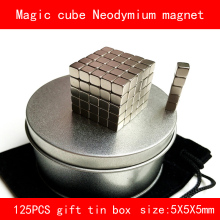 125PCS Cube 5MM magic cube n35 with tin box Neodymium Magnet for gift industrial diy