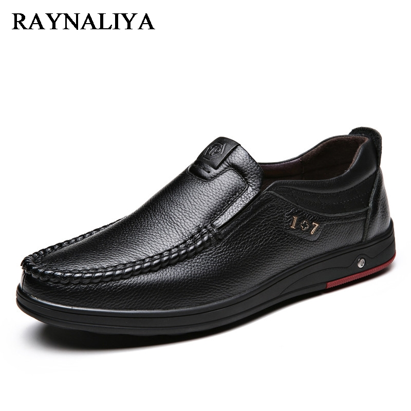 New Men's Casual Shoes Slip On Fashion British Style Genuine Leather Men Shoes High-Quality Outdoor Father Shoes BH-A0017 cbjsho british style summer men loafers 2017 new casual shoes slip on fashion drivers loafer genuine leather moccasins