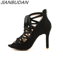 JIANBUDAN/ sexy Ribbon high heel women sandals 2019 New suede Hollow zipper 10cm Super Banquet Size plus 46