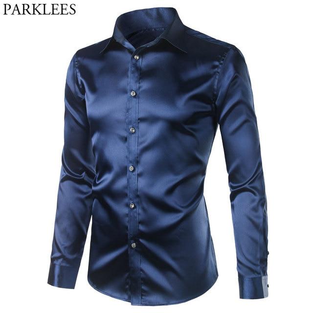 Men's Casual Silk Shirts Long Sleeve Dress