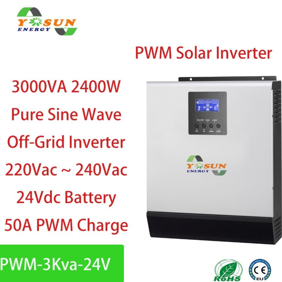 Onduleur solaire 2400W PWM 3Kva 24V 230Vac onduleur à onde sinusoïdale Pure 50A contrôleur de Charge solaire 50A AC
