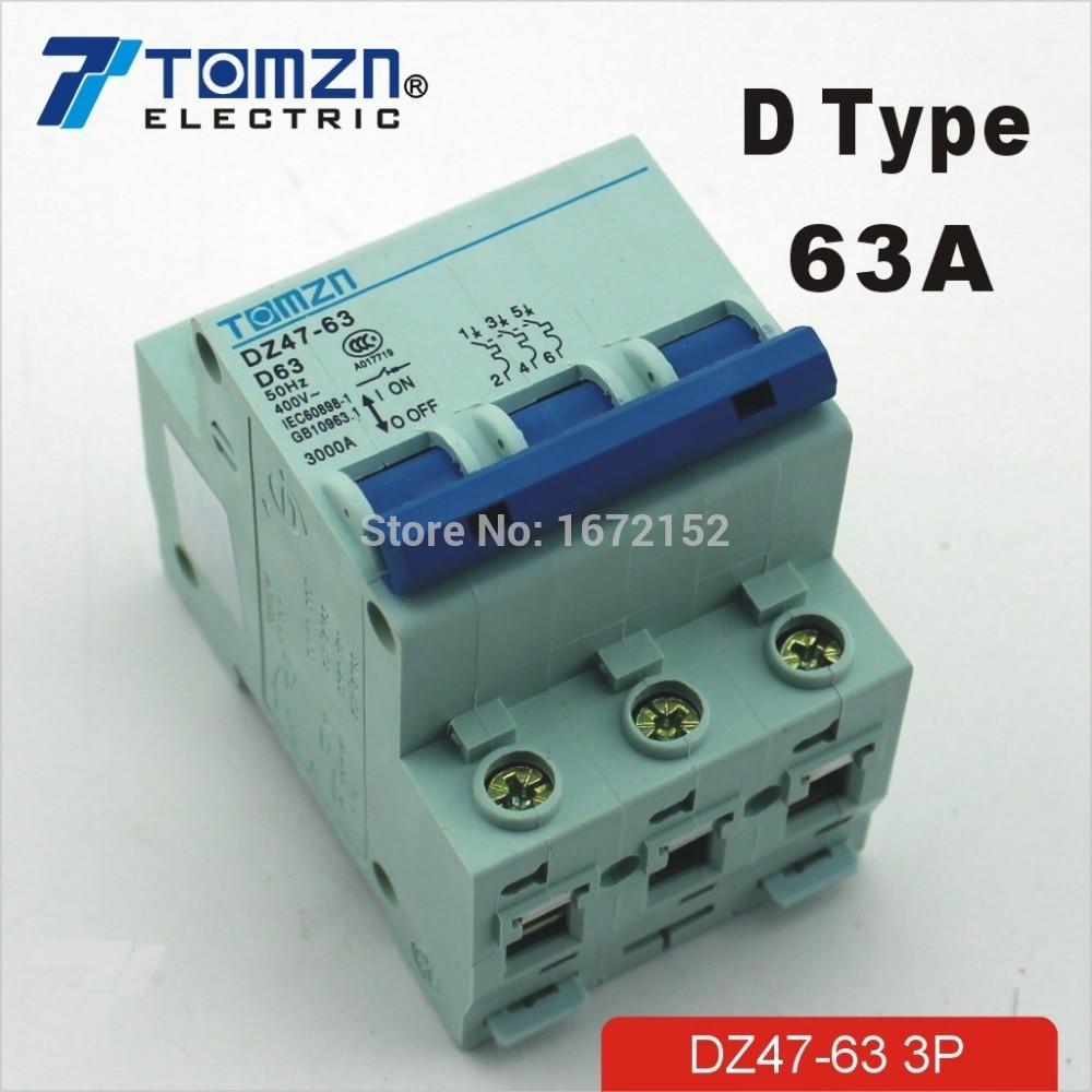 3P 63A D type 240V/415V Circuit breaker MCB 3 POLES new 31624 circuit breaker compact ns250n tmd 100a 3 poles 2d