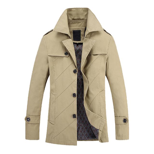 Novo estilo Britânico único breasted trench coat dos homens jaqueta de inverno sobretudo confortável M 3XL 4XL 5XL C6616