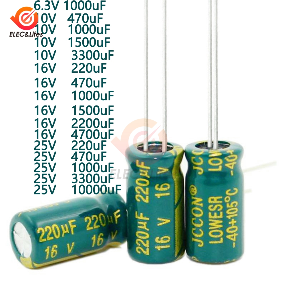 <font><b>50pcs</b></font>/Lot Electrolytic Capacitor 6.3V 10V <font><b>16V</b></font> 25V 220uF 470uF <font><b>1000uF</b></font> 1500uF 2200uF 3300uF 10000uF High Frequency Low Resistance image
