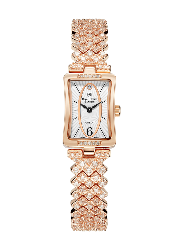 Royal Crown Jewelry Watch 2603S Italy brand Diamond Japan MIYOTA Fashion Bling Casual Ladies Watch Female Quartz Gold Watch цена