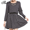 Vintage 2015 New Lady Autumn Dress Beam Waist Dress Plus Size XL 5XL Black White XXXXL
