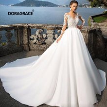Doragrace vestidos de noiva Applique Lace Illusion Long Sleeves Wedding Dresses Beach Gowns