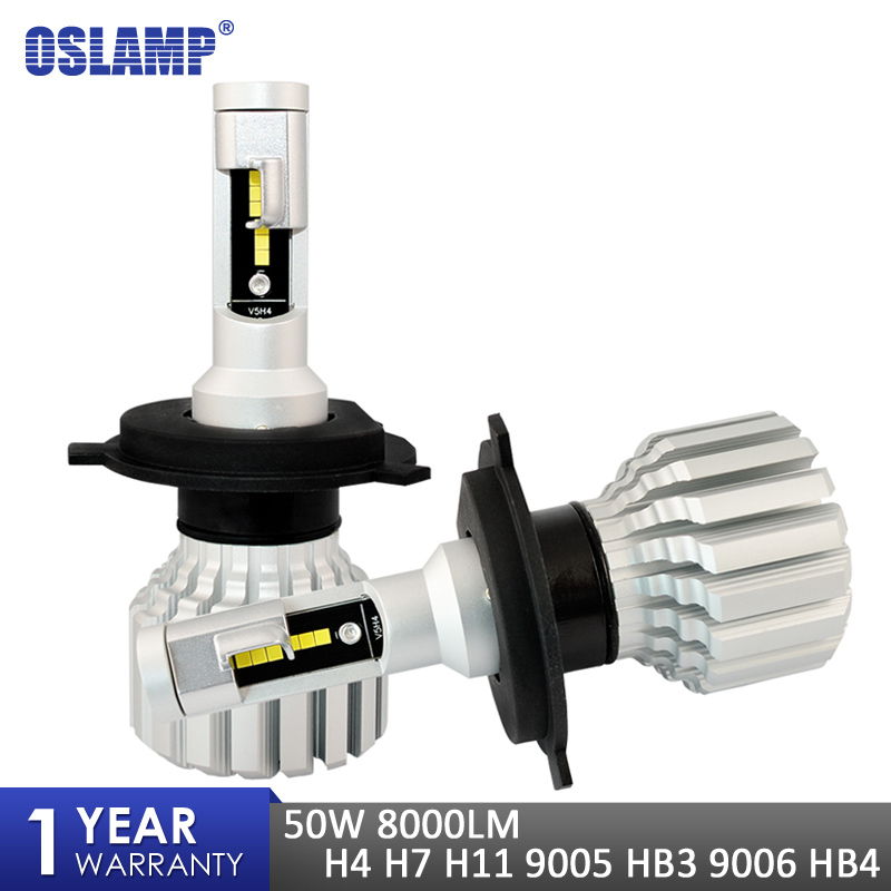 Oslamp V5S Car H4 <font><b>H7</b></font> H11 9005 9006 <font><b>LED</b></font> <font><b>Headlight</b></font> Bulbs CSP Chips Fan-less 50W 8000LM 6500K Auto HB3 HB4 <font><b>Led</b></font> Car Lamps 12V image