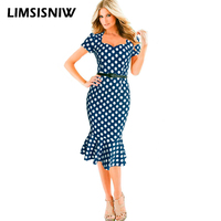 Square Neck Women Black Dogtooth Pencil Mermaid Work Dress Office Lady Tailored Working Ruffles Dresses Red