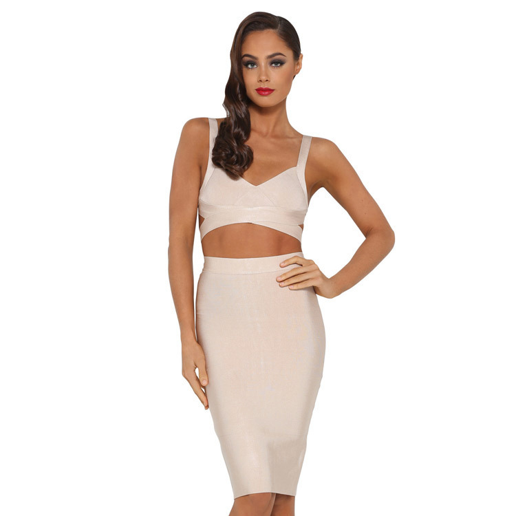 6abfc39c36b women summer crop top and skirt set sexy sun top +knee length tight skirt  quality split celebrity dress twinset bandage set-in Women s Sets from  Women s ...