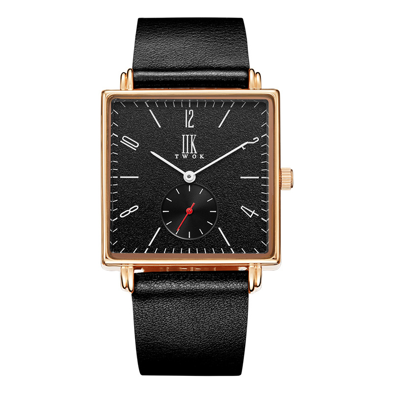 Black Simple Fashion Clock Quartz Watch Men Brand Sport Leather Band Wrist Watches Casual Square Watch curren men s fashion simple leather simple quartz sport wrist watch