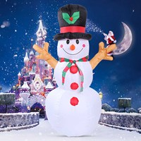 Behogar 1.6m/5.25 Feet Christmas Inflatable Snowman with Lighting for Indoor Outdoor Xmas Holiday New Year Festival Decorations