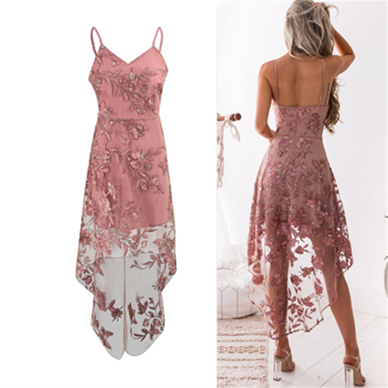 Elegant Vintage Bohemian Beach Strapless Top Dresses Casual Flower Embroidery Dress V-Neck Elegant Pink Lace Dress Women Party