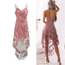 Zarif Vintage Bohemian Plaj Straplez Üst Elbiseler Casual Çiçek Nakış Elbise V Yaka Zarif Pembe Dantel Elbise Kadın Parti