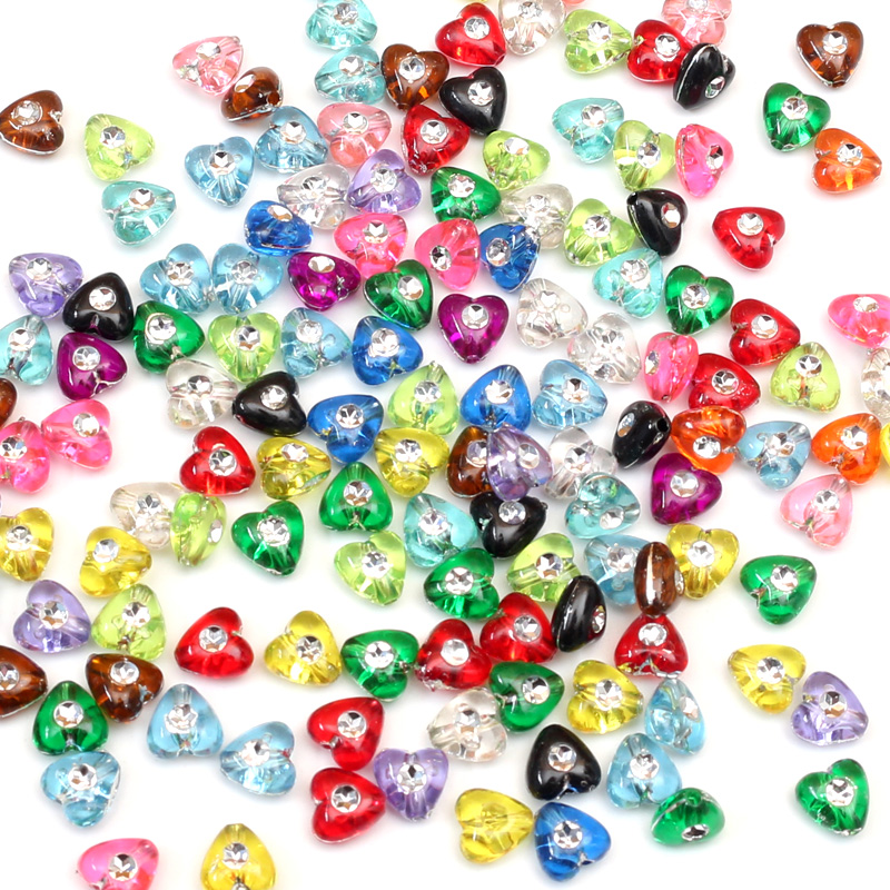 200Pcs Mix Color Acrylic Beads Heart Charm Loose Beads with Hole For Women