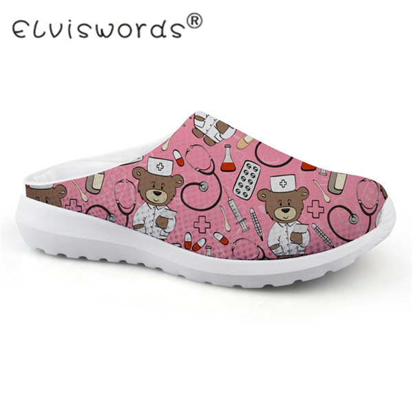 FORUDESIGNS Summer Sandals Women Cute Nurse Bear Print Casual Slip-on Women's Sandals Home Mesh Female Flats Shoes Sandalias instantarts cute cartoon nurse print air mesh sandals women summer casual breathable slip on shoes beach slippers zapatos mujer