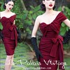 Europe And America Vintage Sexy Lady Wine Red Irregular Pleated Step Bow Tube Top Dress One