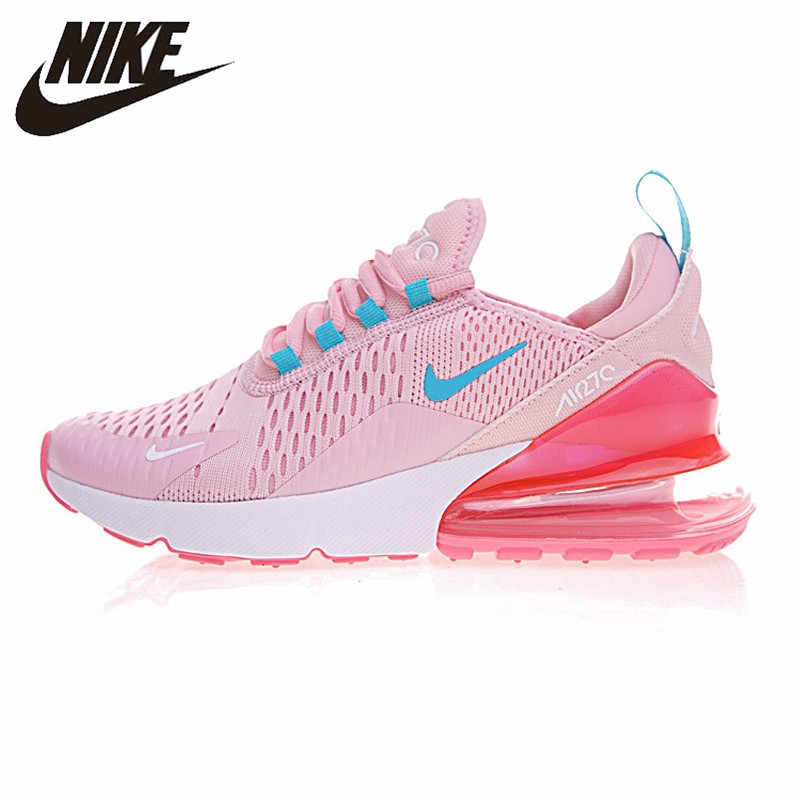 buy online 59c17 a98c1 Nike AIR MAX 270 Women Running Shoes, Yellow Pink, Shock Absorption Non-slip