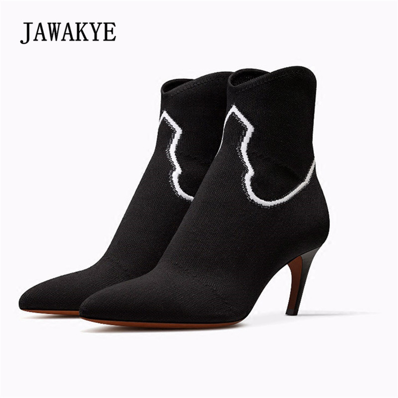 2018 Spring Newest Knit Sock Boots Woman Pointed Toe White Patchwork High Heel Boots Women Fashion Ankle Boots