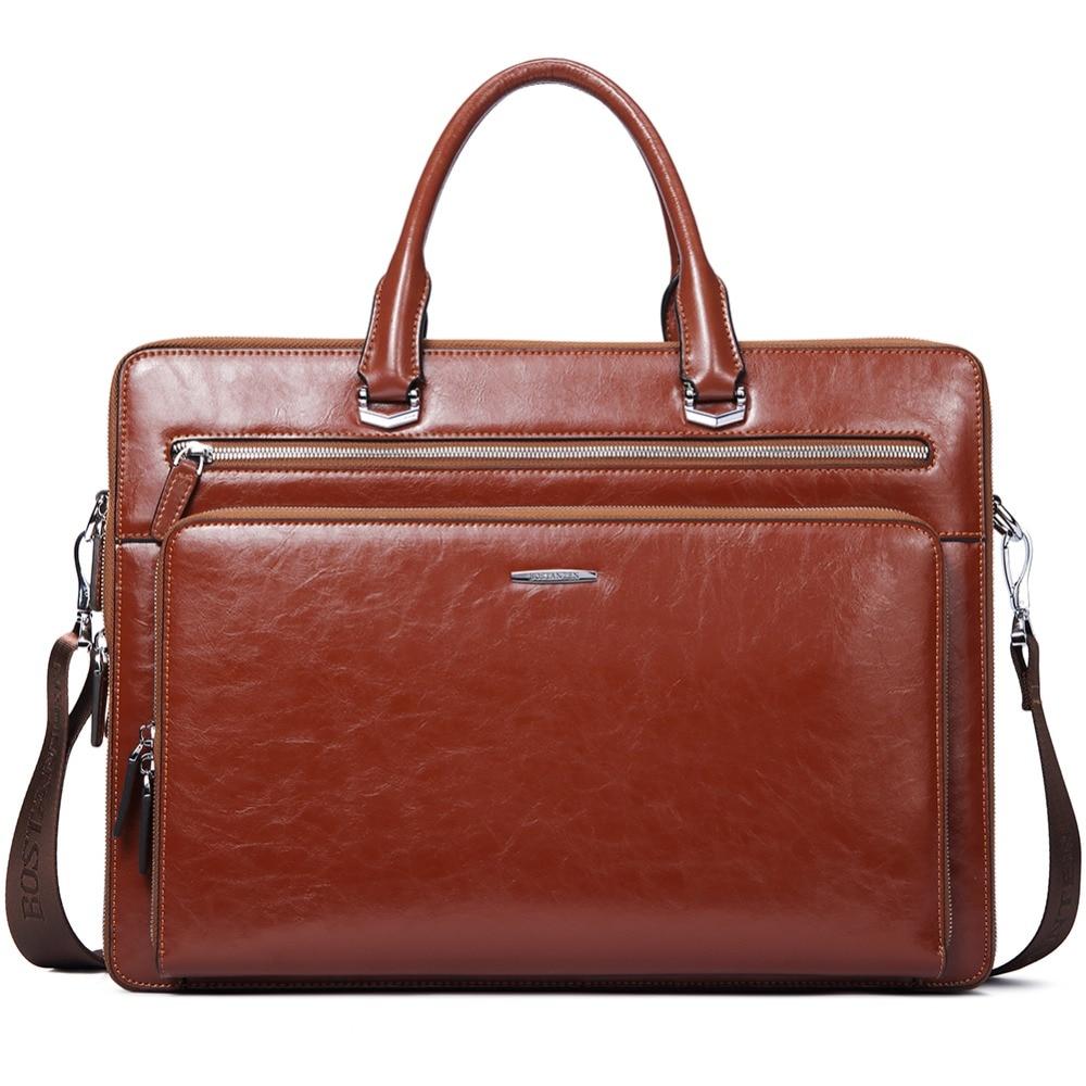 9bc6f4d2b BOSTANTEN Women Man Genuine Leather Briefcase Tote Business Vintage Man  Handbag 15.6