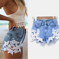 Olrain Sexy Womens Tassel Lace Floral Cintura Alta Rasgado Buraco Wash Denim Jeans Shorts Hot Shorts