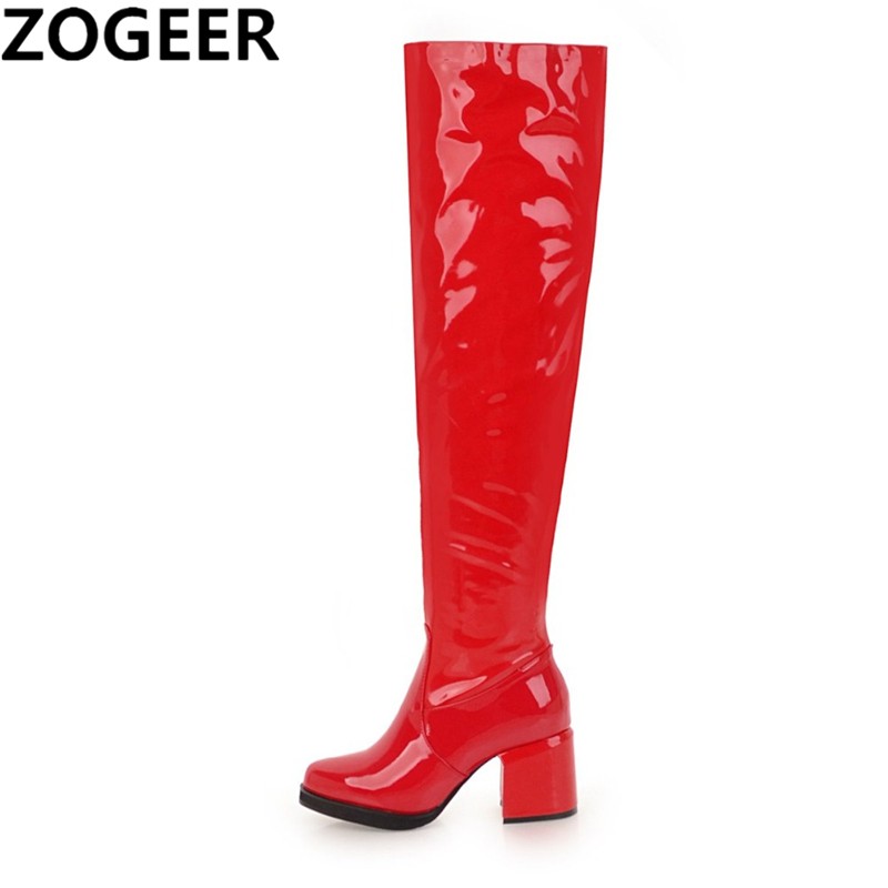 Plus size 48 Women Over the Knee Boots Sexy Patent Leather Fetish Dance Nightclub Party Shoes