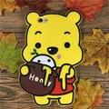 Luxo 3d animação Winnie bonito do urso de silicone macio do telefone móvel tampa de borracha de volta para o iphone 6 6 s plus protetor de banda desenhada caso