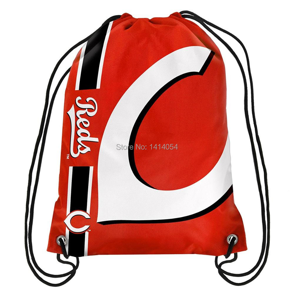 Cincinnati Reds Drawstring Backpack 35x45CM MLB Digital Printing Polyester Custom Sports Backpack, free shipping