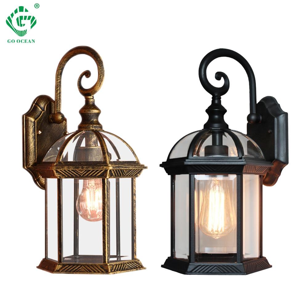 Wall Lamp Exterior E27 Bulb Sconce Light Fixtures Black Bronze LED Wall  Lights Outdoor Porch House Home Yard Garden Lighting
