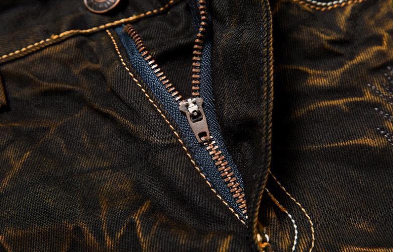 Nya herrsmode tappning hål rippade biker jeans Män casual slim rak - Herrkläder - Foto 5