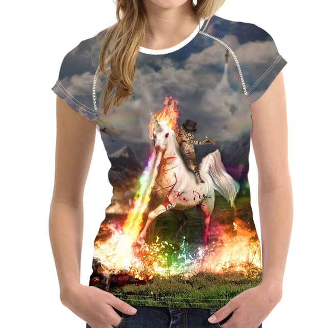 65878593726 Customized Cat Riding Unicorn With Top Hat Print Women s T Shirt Summer  Breathable Tops Tee Shirt