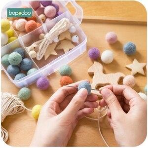 Image 5 - Bopoobo 1 Set bebé mordedor DIY silicona cuentas chupete Clip cadena bebé móvil de lana bola BPA cuentas de ganchillo de madera gratis mordedor