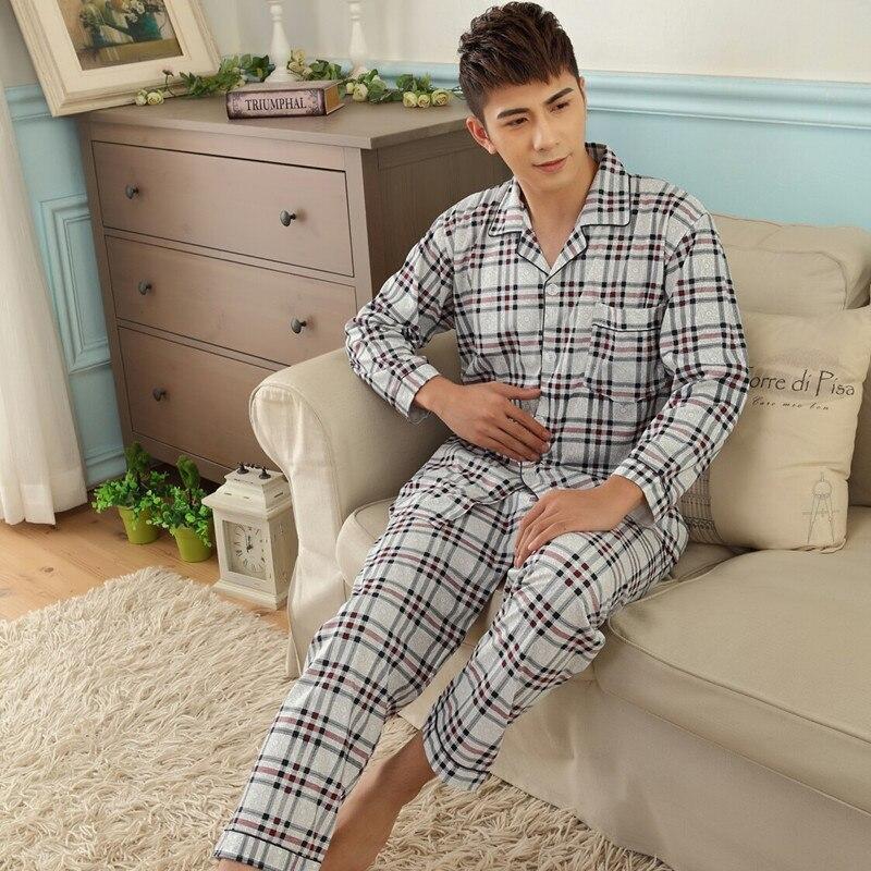 Siriusha06 Summer Cotton Men's Pajamas Set Cotton Long Sleeve Pants Men's Home Pleated Cotton Plus Fat Code