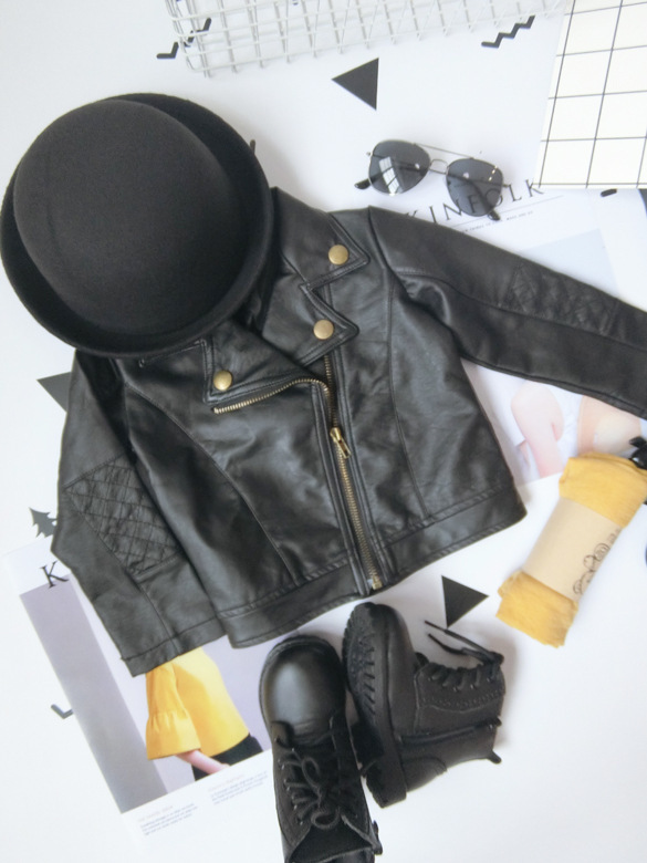 Wind PU Leather Leather Coat Baby Boys and Girls Short Children Jacket 2