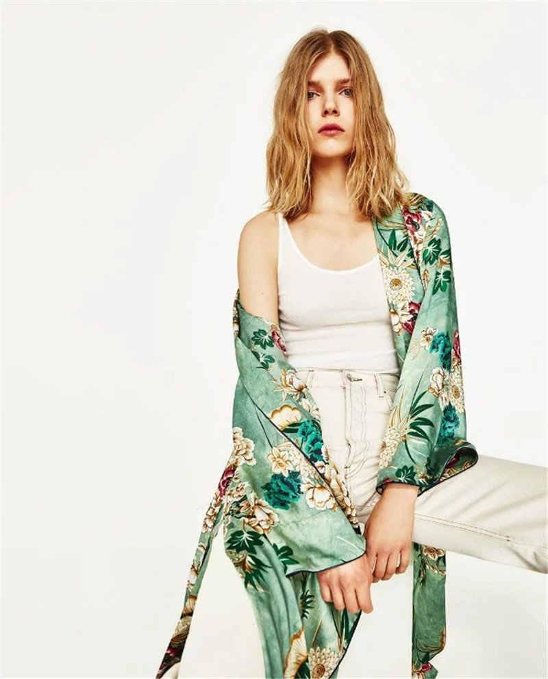 Vintage Ethnic Floral Print Sashes long Kimono Shirt Women 2017 Fashion Cardigan Casual  Blouse Tops blusas chemise femme blusa