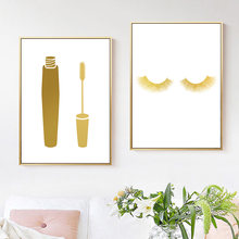 Gold Mascara Eyelash Wall Art Canvas Painting Nordic Posters And Prints Wall Pictures For Bathroom Beauty Salon Girly Wall Decor(China)