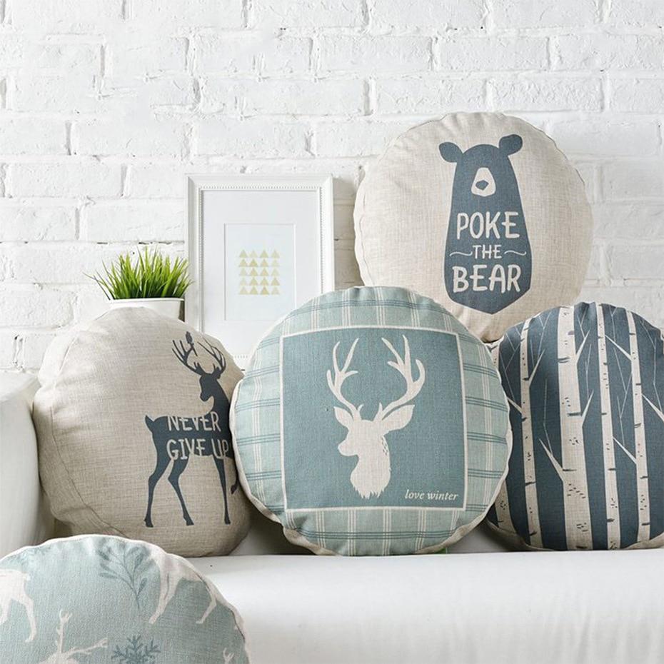 Round Cushion Cover Linen Cotton Pillowcase Animal Christmas Elk ...