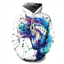2018 Men Spring autumn 3D Colorful Ink Splashing Cartoon Unicorn Sweatshirt Pullover